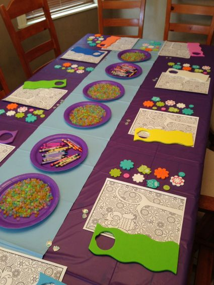 Night Owl Pajama Party Craft table