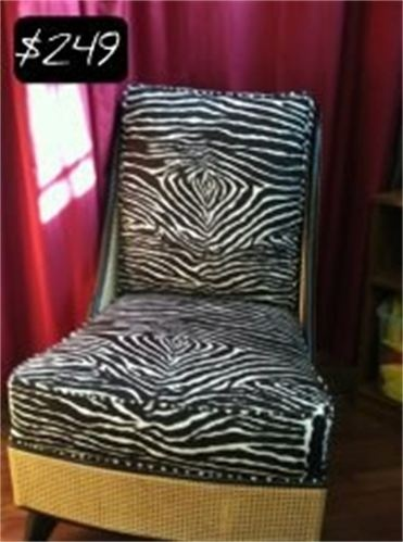 Check out this chic designer brown zebra upholstered accent chair with