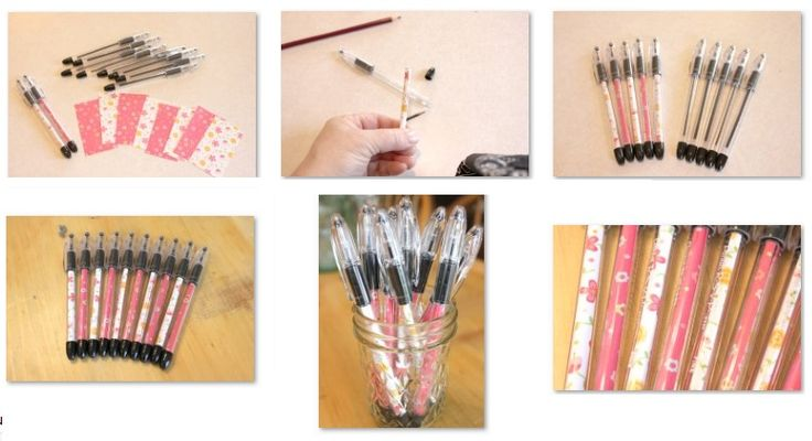 Buy pens with clear casings.  Unscrew, insert pretty paper (or kids drawings), screw lid back on. Pretty pens.