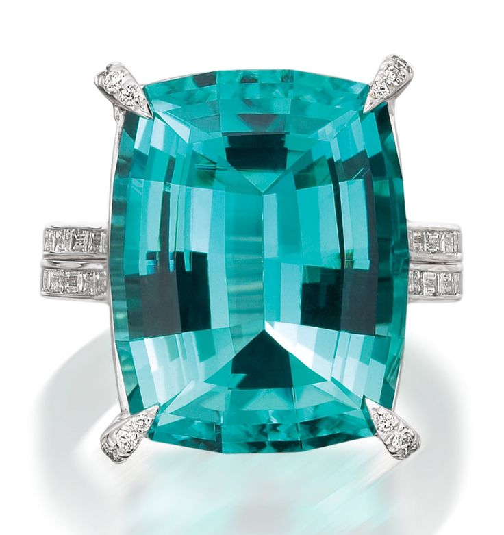 Mark Patterson Ocean View. Indicolite, or Blue Green Tourmaline Ring with Diamonds. My favorite.