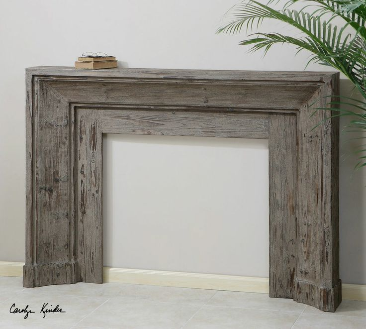 66 Gray Carved Fir Wood Fireplace Mantel Rustic Tuscan