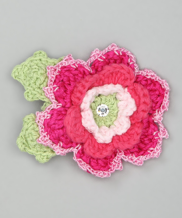 Crochet Hair Clip Ideas : White & Pink Flower Crochet Hair Clip Craft Ideas Pinterest