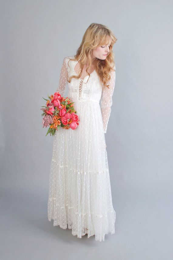 1970s white gunne sax wedding dress vintage 70s floral for 1970s vintage wedding dresses
