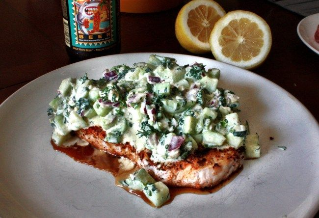 Grilled Wild Caught Swordfish topped with Fresh Cucumber Salsa ...