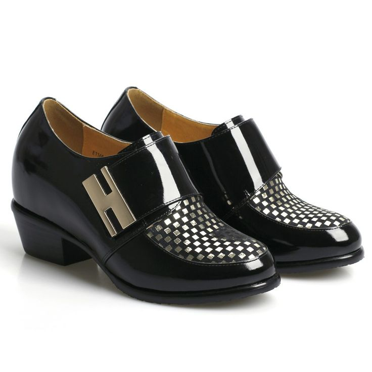2014 Women Fashion Black Patent leather Dress Height Increasing Shoes