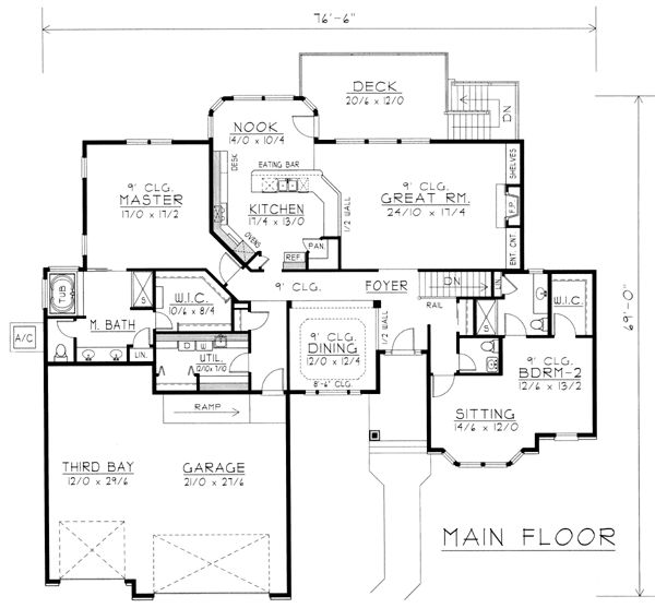 Contemporary ranch house plan 63542 Modern ranch floor plans