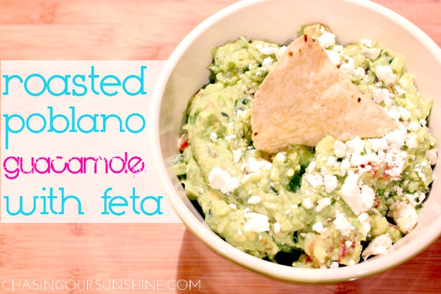 Roasted Poblano Guacamole with Feta | All About Avocados | Pinterest