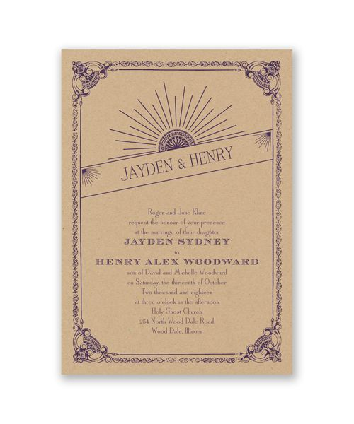 Kraft Sunburst Wedding Invitation by David's Bridal