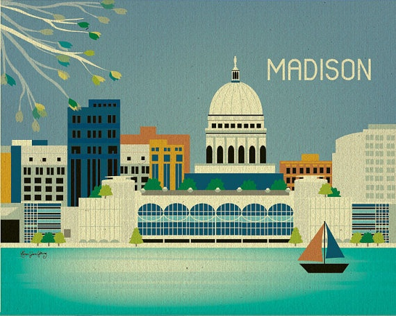 Madison Wisconsin Skyline Gift Art Poster Print For