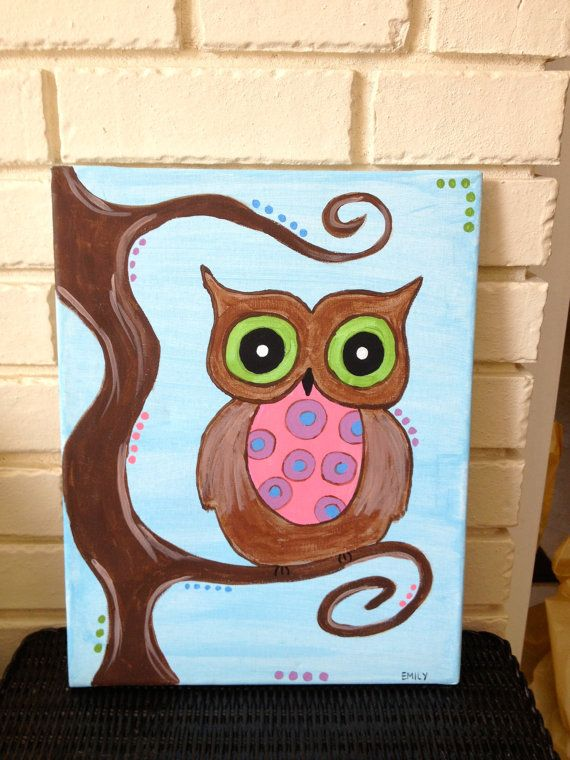 Cute custom owl painting canvases pinterest for Cute watercolor paintings