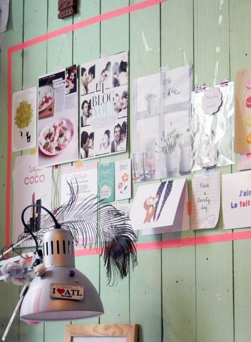 moodboard - light - wall - mint - cards - pink