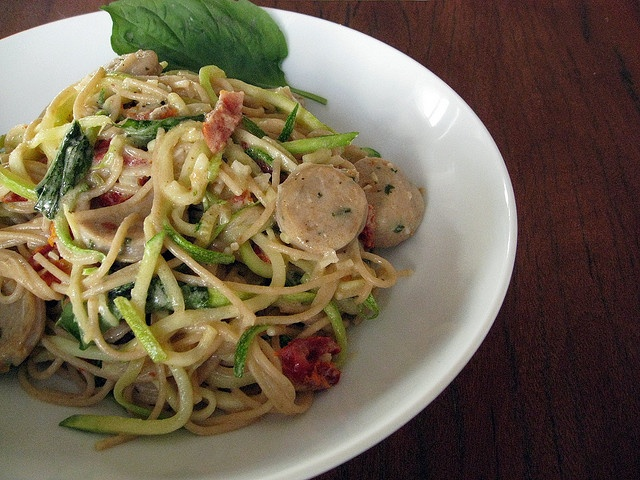 zucchini spaghetti or konjac noodles with sausage or chicken or turkey ...