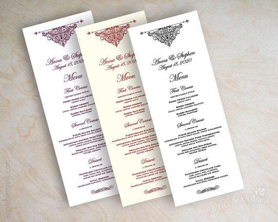 Wedding Menu Card Printable Wedding Menu Diy Wedding Menu Wedding