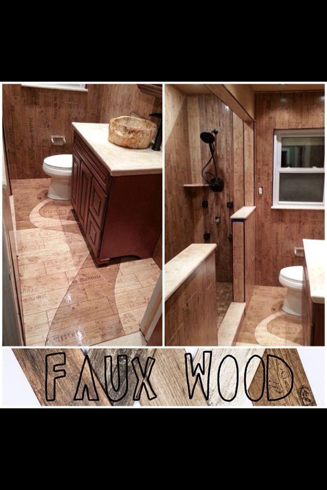 Faux wood tile bathroom