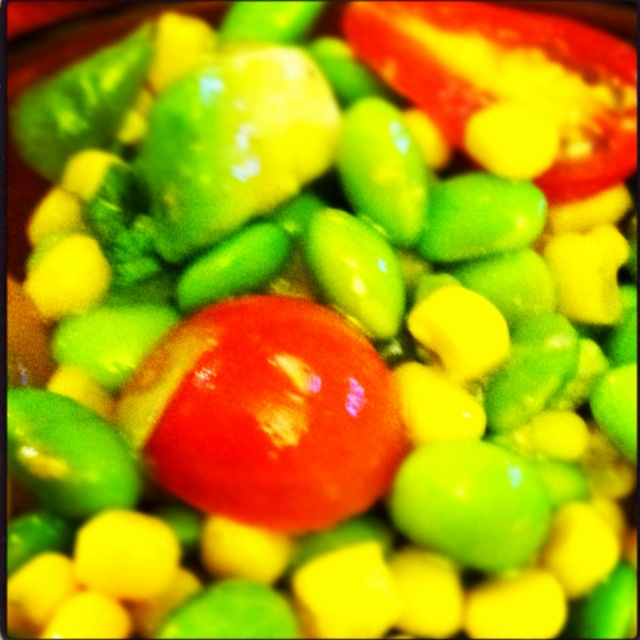 Avocado, edamame, corn, cherry tomatoes, basil... Add some extra ...