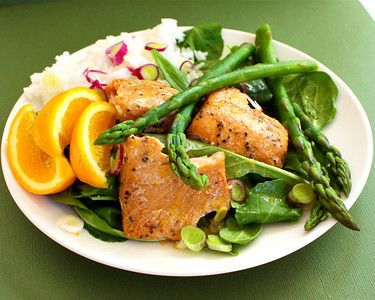 Poached Salmon with Asparagus and Orange Vinaigrette 1 skin-on wild ...