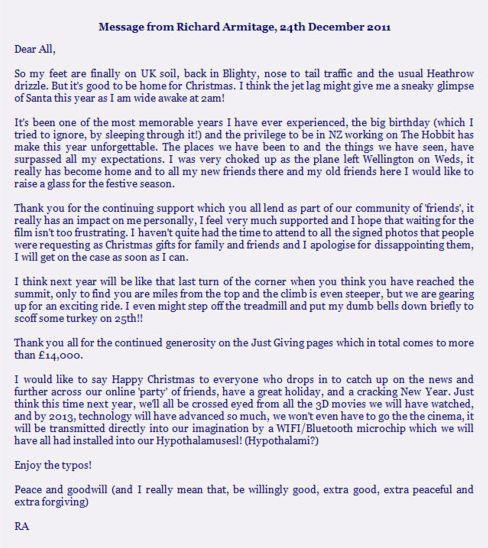 Richard Armitage wrote a letter to fans