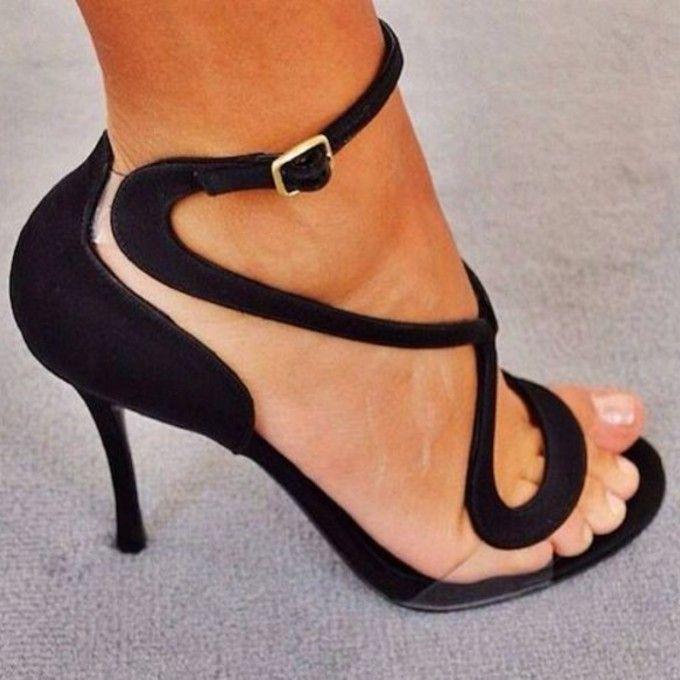 strappy high heel sandals black threads