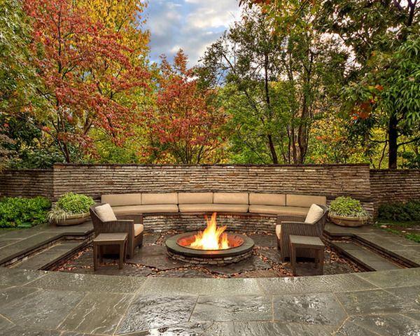 Sunken Backyard Patio : Nice Sunken Patio with Fire Pits Ideas  Patioyard  Pinterest