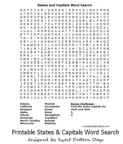 States and Capitals Word Search | School | Pinterest