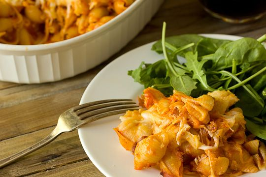 Easy Pasta Bake with Prosciutto, Tomato Sauce & Mozzarella