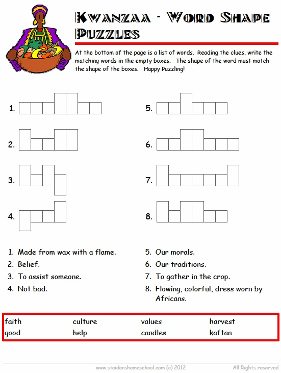 Free Kwanzaa Vocabulary Worksheets for Grades 1 - 3