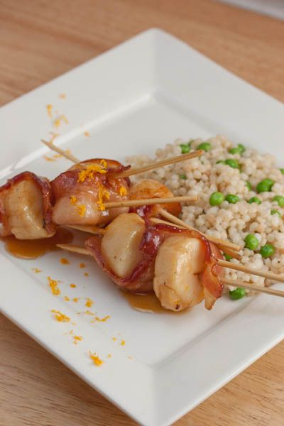 Scallops In Maple-Glazed Bacon Recipe — Dishmaps