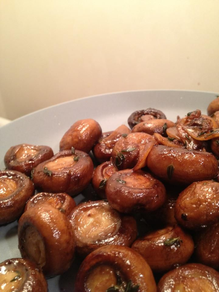 Baby bellas sauteed in oil with sliced garlic, thyme, and white wine ...