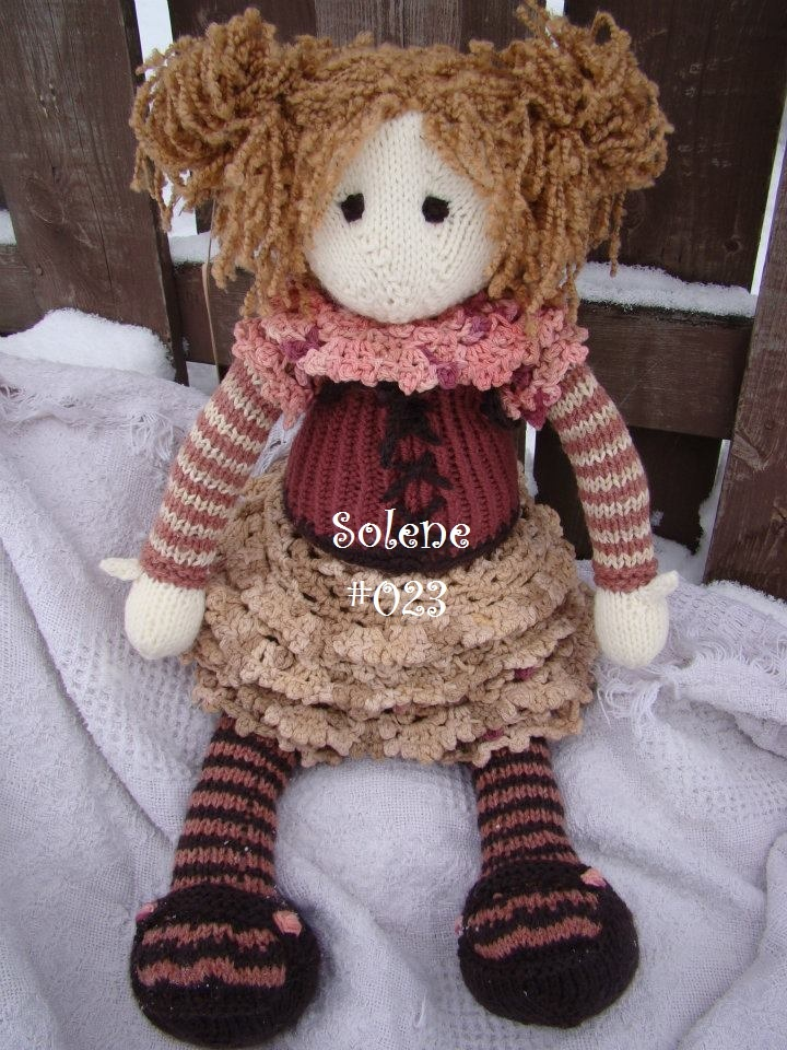 Knitted Rag Doll Pattern : Solene #023 knit doll knit rag doll Knitting Pinterest