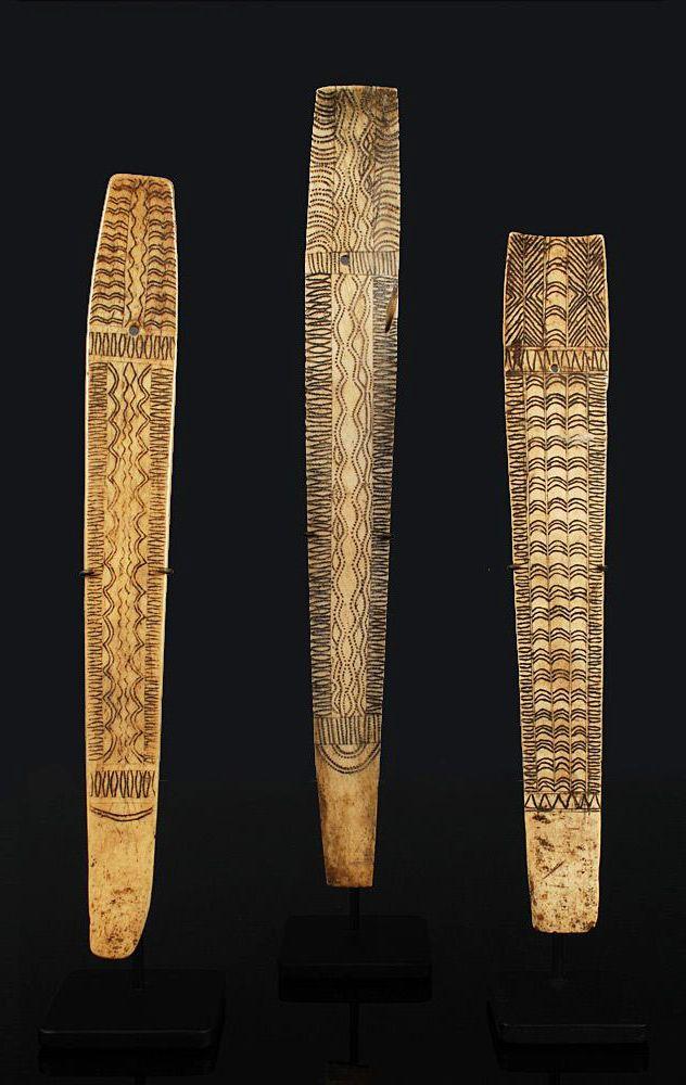 Burma/India | Naga hair ornaments | Bone with engraving | Early 20th century | 425$ each