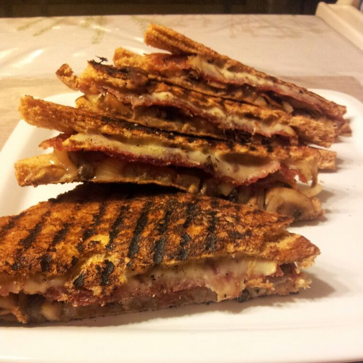 ... mushrooms, Hungarian Salami and smoked Gouda grilled cheese sandwich