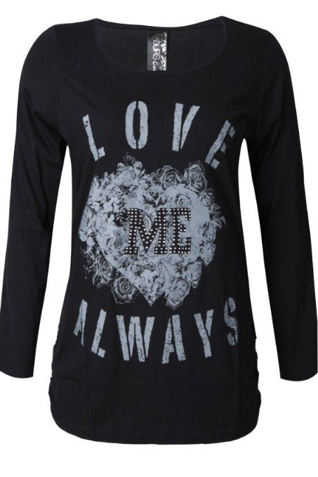 com: Yoursclothing Womens Plus Size Love Me Always Print Long Sleeve T ...