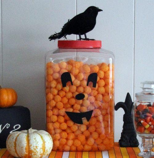 Halloween Party Food: Cheese Balls Jack-o'-Lantern