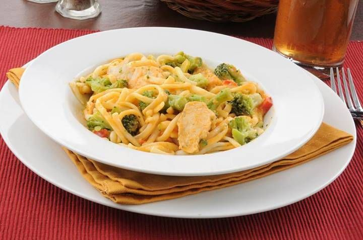 Chicken with Broccoli and Creamy Red Pepper Alfredo Sauce