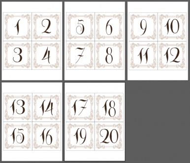 Taupe & Chocolate Table Number Cards 1-20 Print Your Own - immediate ...