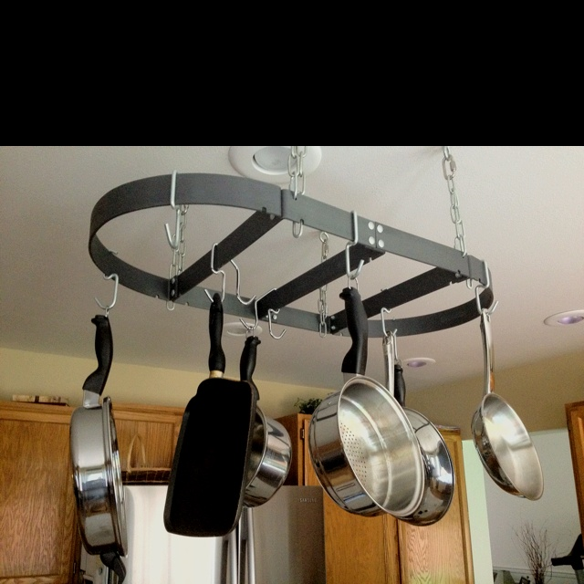 Pots and pans ceiling rack camp deco ideas camping for Overhead pots and pans rack