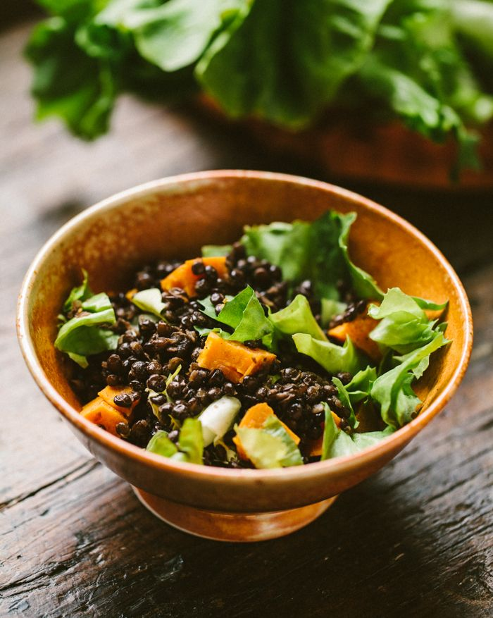 Escarole & Lentil Salad with Sweet Potatoes | Familystyle Food