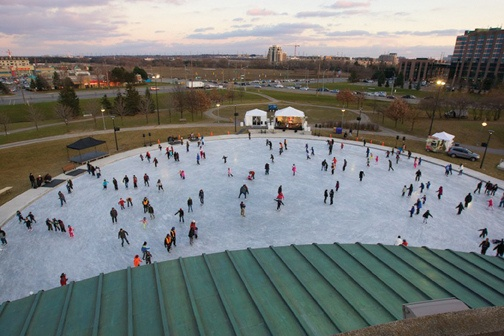 Ice Rink on a cold winters day The rink is the largest outdoor ice