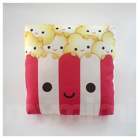 "Decorative Pillow, Popcorn Pillow, Movie Night, Party Favor, Red and White, Kawaii, Cushion, Dorm Decor, Room Decor, Childrens Toys, 7 x 7"" on Etsy, $18.00"