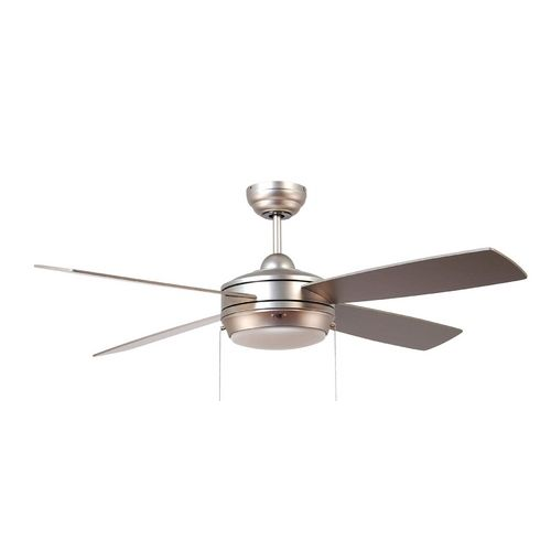 Modern ceiling fan with light with white glass in brushed Modern white ceiling fan