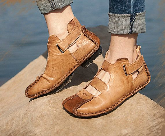 Handmade Summer Shoes for Women,Flat Shoes, Casual Shoes,Sandal, Retro