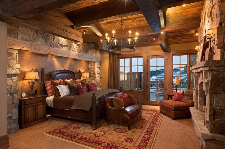 Beautiful Log Home Bedroom Cabins Pinterest