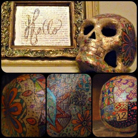 Halloween skull hand inked one of a kind skull halloween decoratio