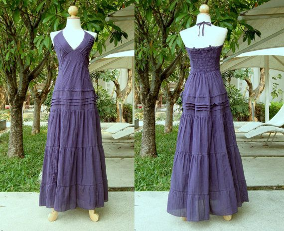 Plum lavender purple dress long maxi dress halter dress for Purple summer dresses for weddings