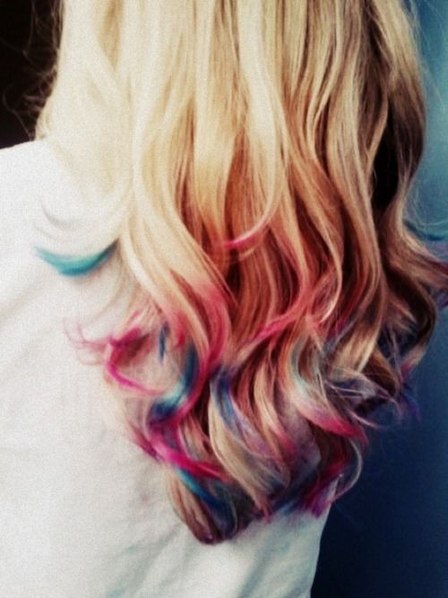 multicolored dipdyedombre hair pinterest