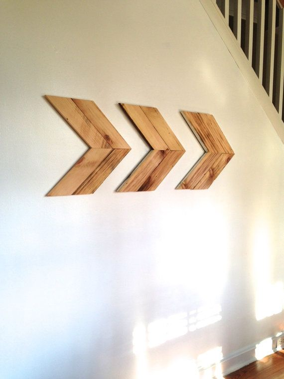 Wall Decor Wooden Arrows : Large reclaimed wood arrow wall art set of