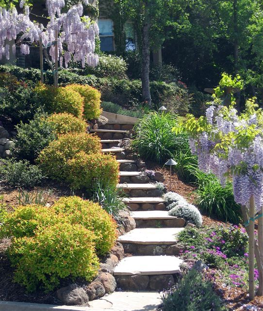 Landscaping Ideas For Uneven Yard : Stair effects with uneven backyard ideas outdoor space