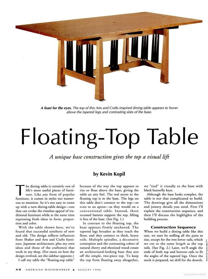 Floating top table tutorial free dining table plans for Floating bench plans