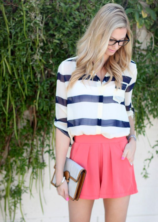 coral shorts and navy striped blouse