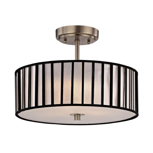 modern semi flush ceiling light with drum shade 14 inches. Black Bedroom Furniture Sets. Home Design Ideas